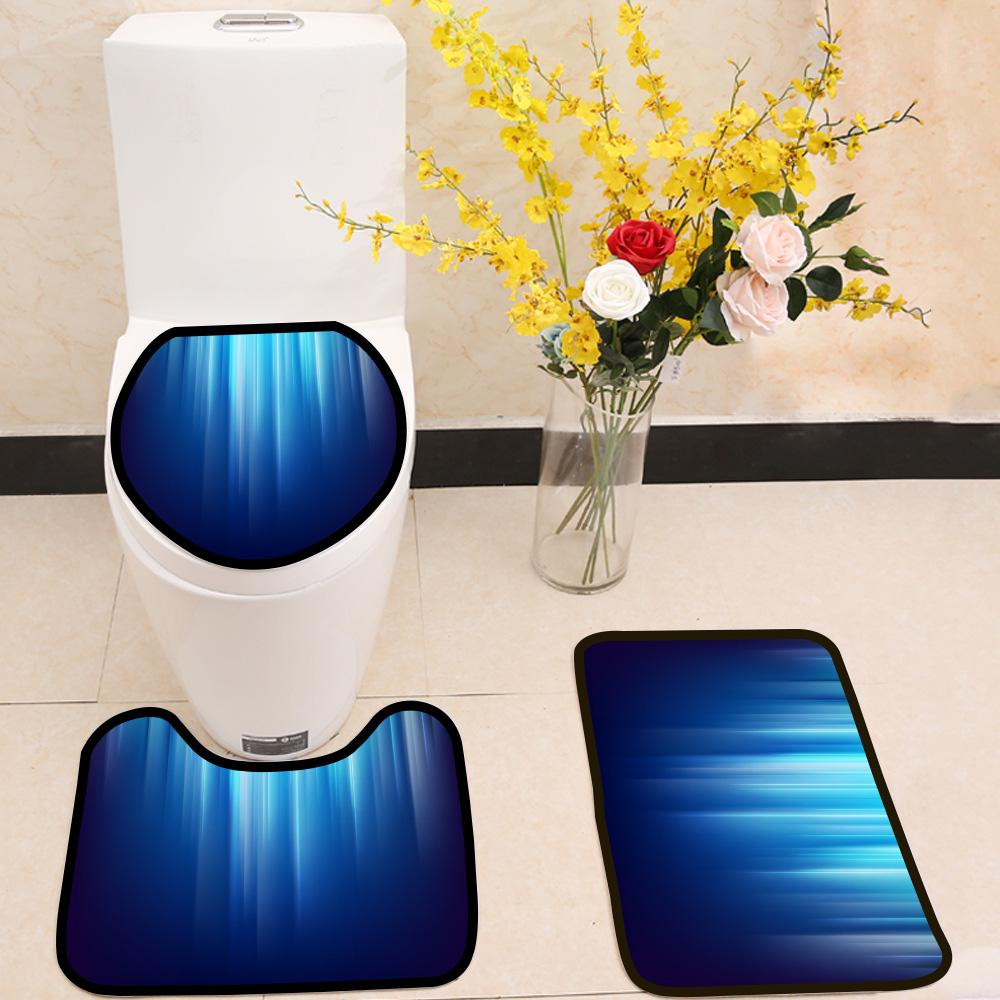 Abstract dark space glowing blue light lines 3 Piece Toilet Cover Set