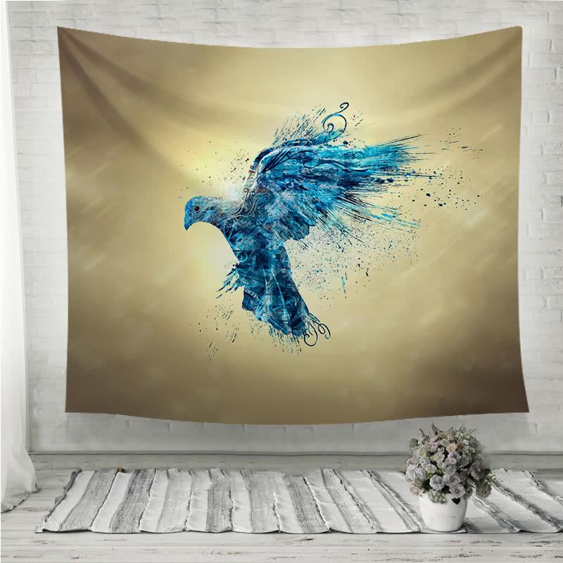 Blue dove in sky Wall Tapestry