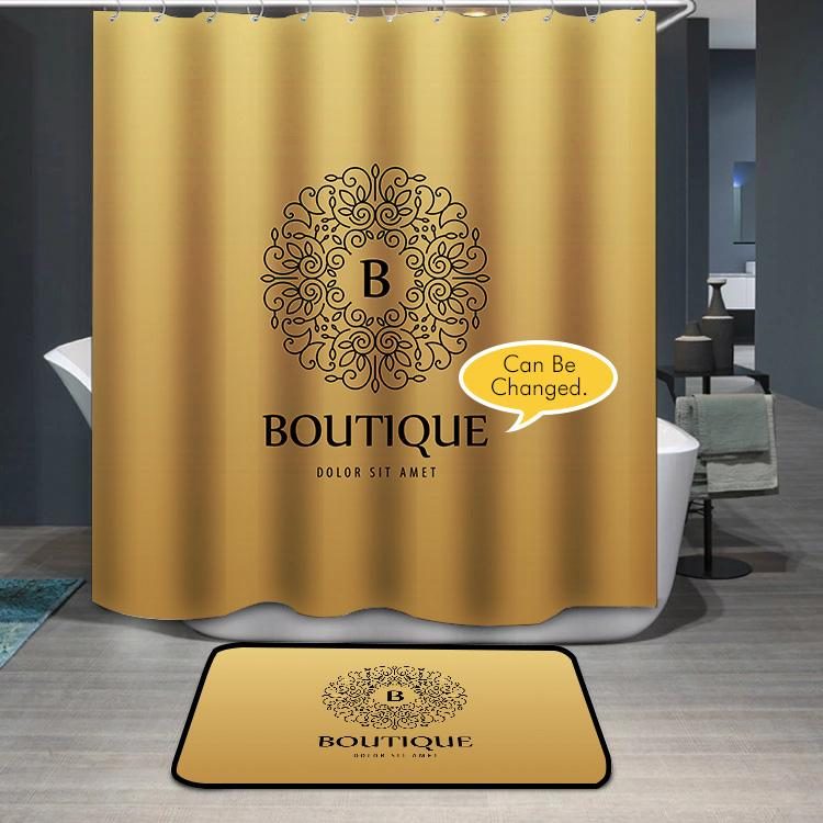 Monogram luxury linear logo yello Shower Curtain