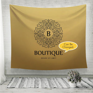 Monogram luxury linear logo yello Wall Tapestry