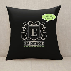 Black silver monogrammed logo Throw Pillow [With Inserts]
