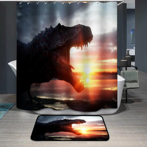 Dinosaur with Wonderfull sunrise Shower Curtain