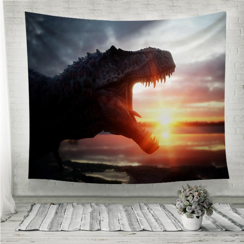 Dinosaur with Wonderfull sunrise Wall Tapestry