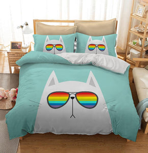 White cat wearing rainbow sunglasses Custom Printing Comforter