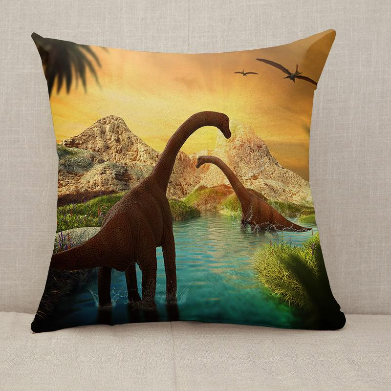 Fantasy Landscape with dinosaur Throw Pillow [With Inserts]