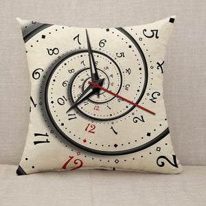 Abstract Modern white spiral clock Throw Pillow [With Inserts]