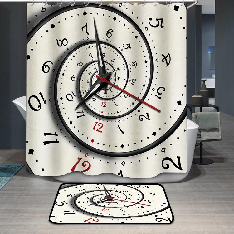 Abstract Modern white spiral clock Shower Curtain
