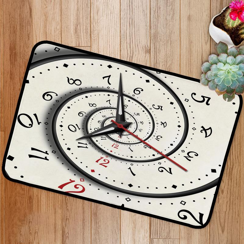 Abstract Modern white spiral clock Bath Mat