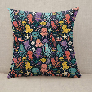 Cute and funny octopus colorful pattern Throw Pillow [With Inserts]