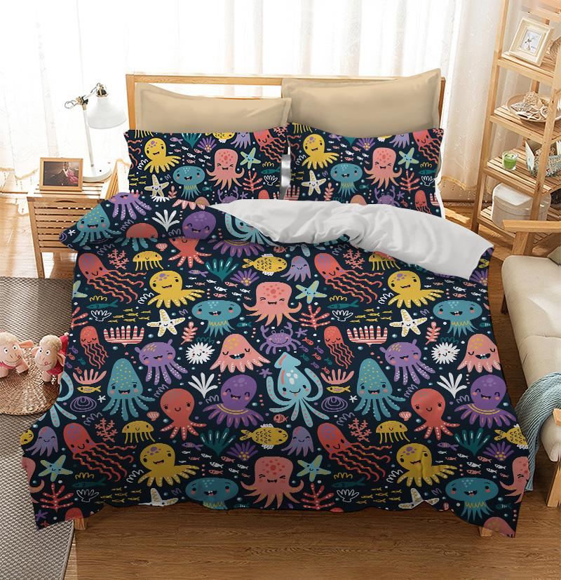 Cute and funny octopus colorful pattern Custom Printing Comforter