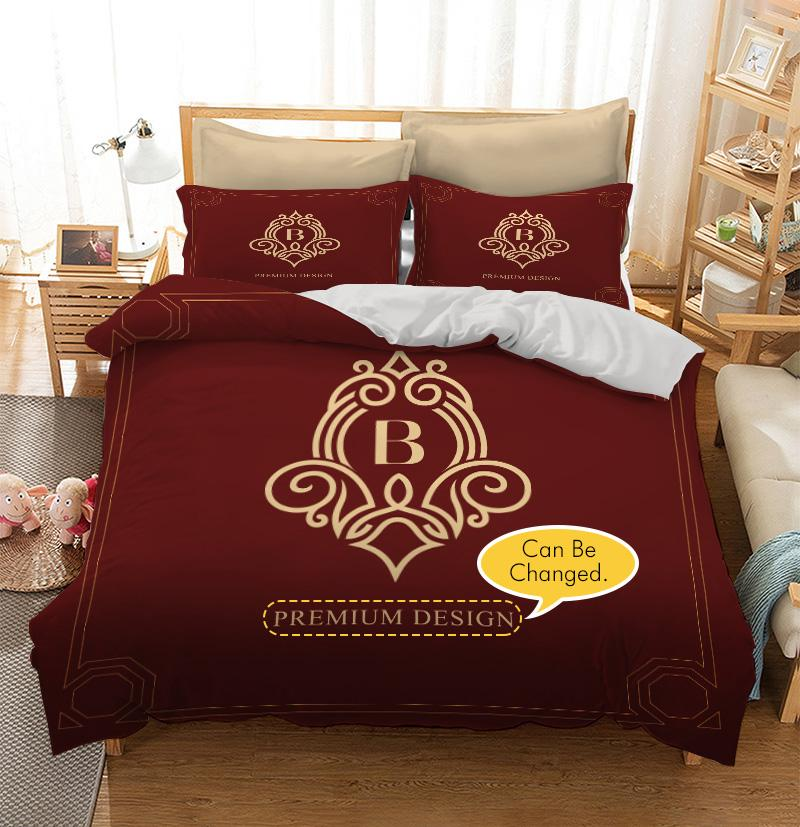 Burgundy red Monogram design Custom Printing Comforter