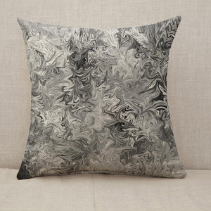 Abstract Gray Black and White Marble Ink Pattern Throw Pillow [With Inserts]