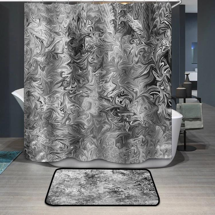 Abstract Gray Black and White Marble Ink Pattern Shower Curtain