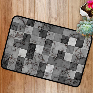 Marble textured with gradient geometric square blocks Bath Mat