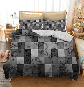 Marble textured with gradient geometric square blocks Custom Printing Comforter