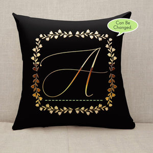 Golden Floral Frame monogram letter name Throw Pillow [With Inserts]