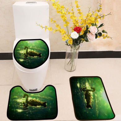 Swan in colorful green reflection with bokeh 3 Piece Toilet Cover Set