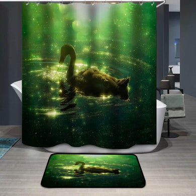 Swan in colorful green reflection with bokeh Shower Curtain