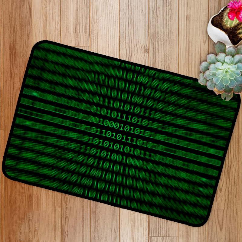 Zoomed binary numbers green Bath Mat