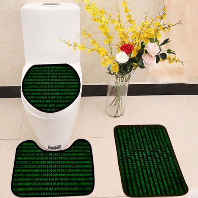 Zoomed binary numbers green 3 Piece Toilet Cover Set