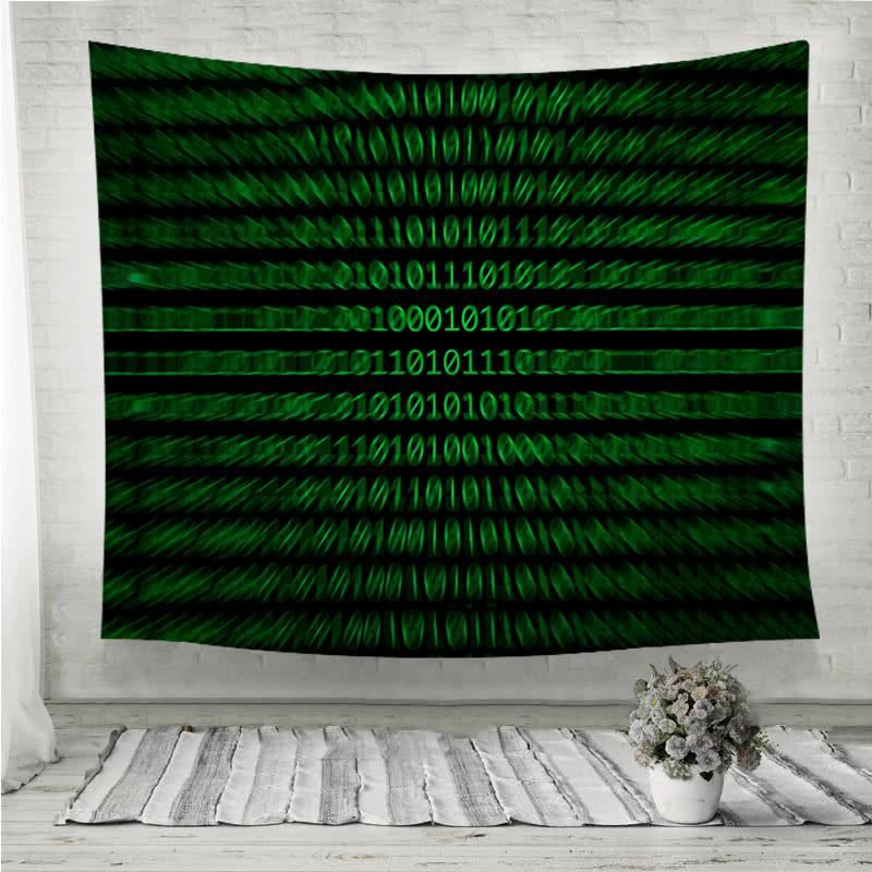 Zoomed binary numbers green Wall Tapestry