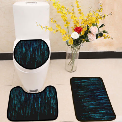 Binary matrix background blue 3 Piece Toilet Cover Set