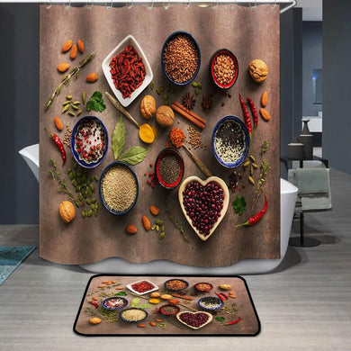 Super food background spices nuts Shower Curtain