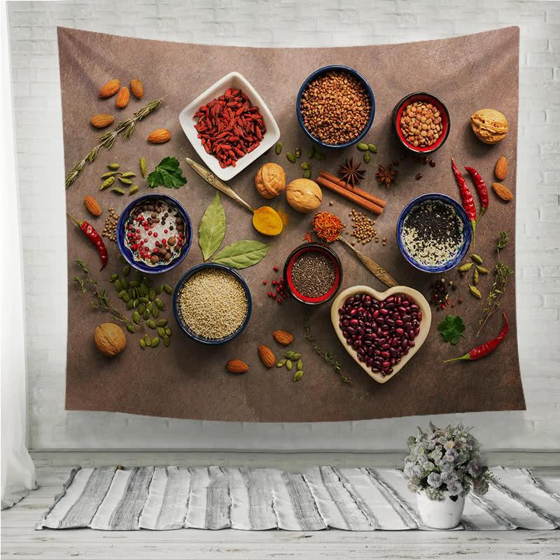 Super food background spices nuts Wall Tapestry