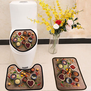 Super food background spices nuts 3 Piece Toilet Cover Set