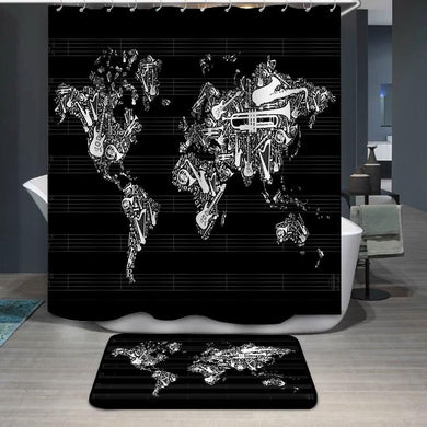 Music World Map Shower Curtain