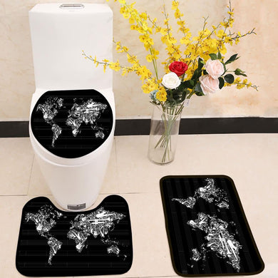 Music World Map 3 Piece Toilet Cover Set