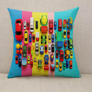 Colored toy cars on multicolored background Throw Pillow [With Inserts]