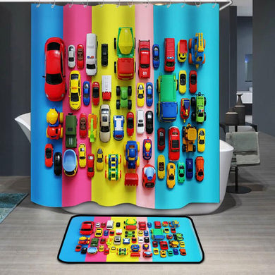 Colored toy cars on multicolored background Shower Curtain