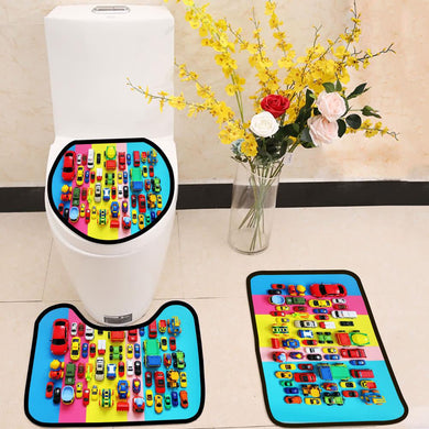Colored toy cars on multicolored background 3 Piece Toilet Cover Set