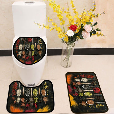 A set of varied seeds and spices in spoons 3 Piece Toilet Cover Set