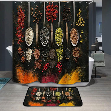 A set of varied seeds and spices in spoons Shower Curtain