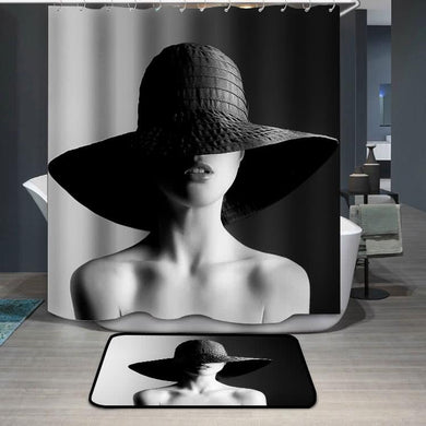 Fashion woman in hat black and white Shower Curtain
