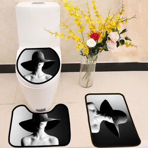 Fashion woman in hat black and white 3 Piece Toilet Cover Set