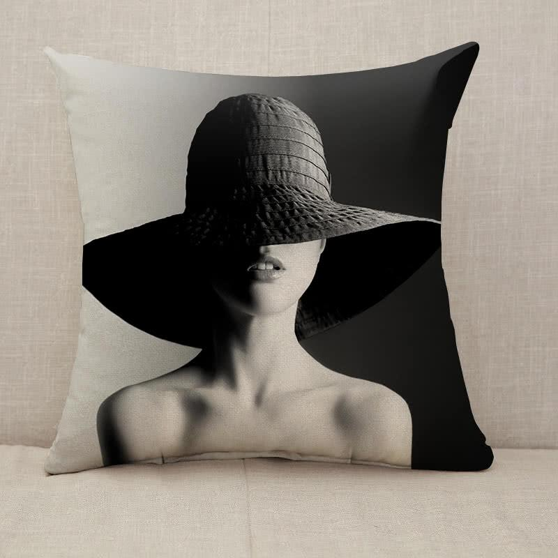 Fashion woman in hat black and white Throw Pillow [With Inserts]