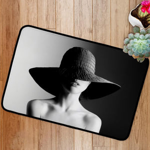 Fashion woman in hat black and white Bath Mat