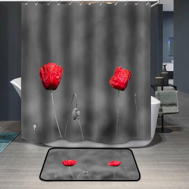 Poppy flowers with abstract black and white background Shower Curtain