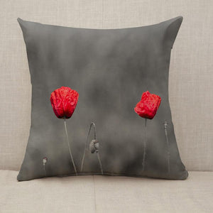 Poppy flowers with abstract black and white background Throw Pillow [With Inserts]
