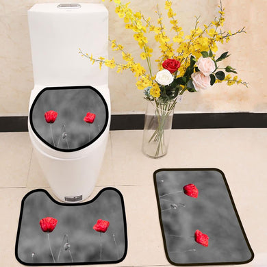 Poppy flowers with abstract black and white background 3 Piece Toilet Cover Set