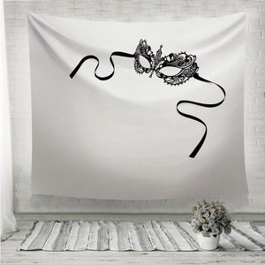 Black delicate lace mask on a white background Wall Tapestry