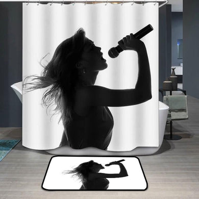 Woman singing with a microphone in hands Shower Curtain