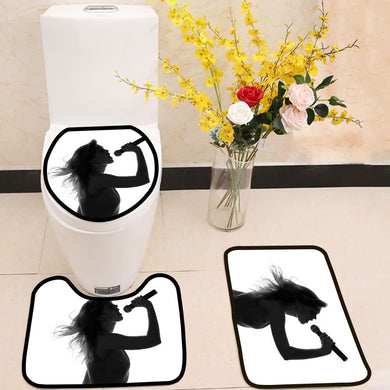 Woman singing with a microphone in hands 3 Piece Toilet Cover Set