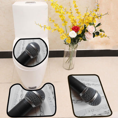 Microphone on the music notes black white 3 Piece Toilet Cover Set