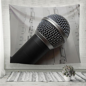 Microphone on the music notes black white Wall Tapestry