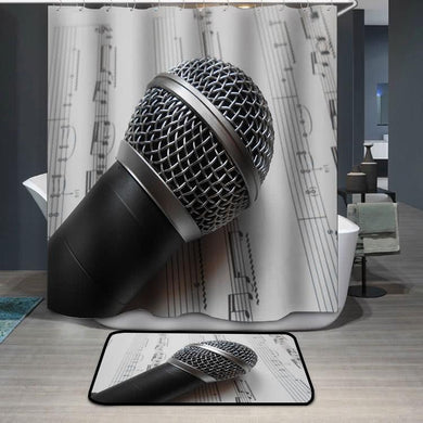 Microphone on the music notes black white Shower Curtain