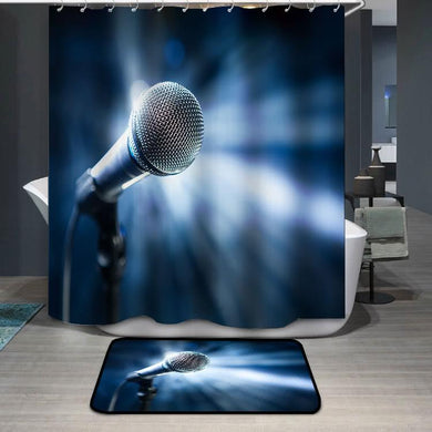 Microphone on stage blue background Shower Curtain